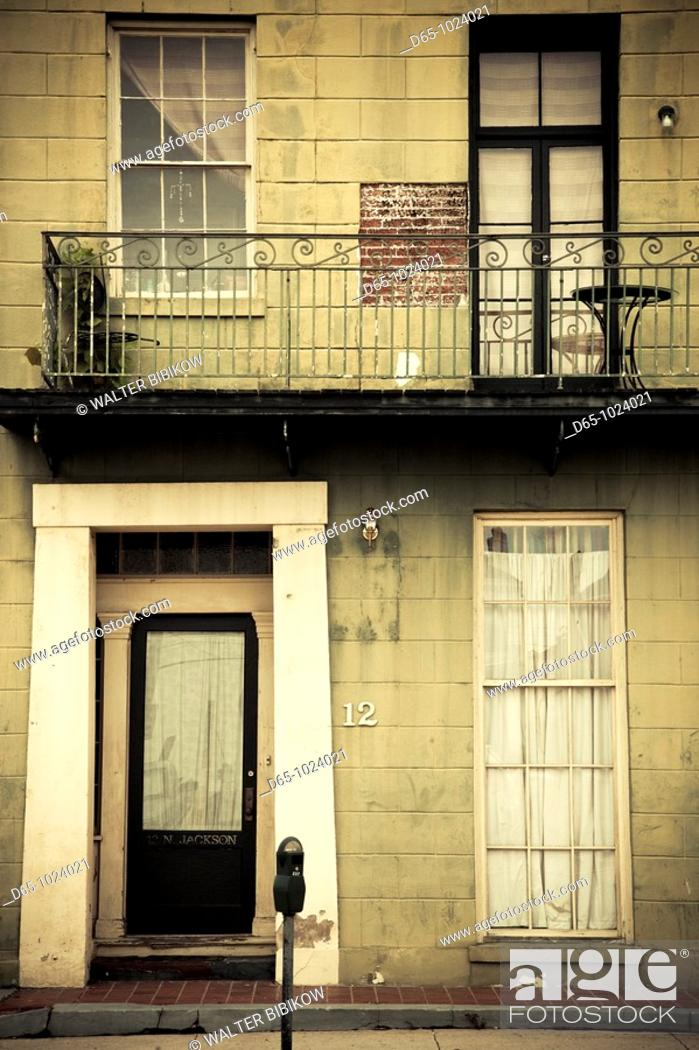 Stock Photo: USA, Alabama, Mobile, Dauphin Street, building on Joachim Street.