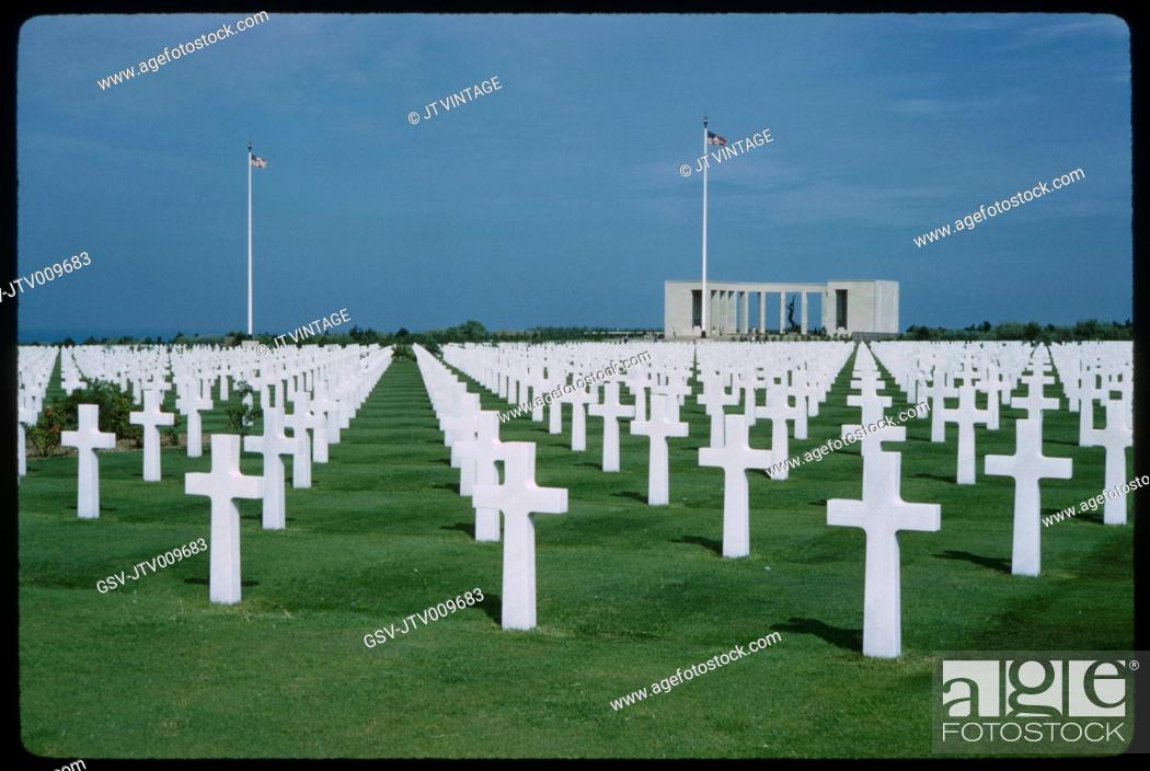 Stock Photo: American Cemetery and Memorial, Omaha Beach, Colleville-sur-Mer, Normandy, France, 1961.