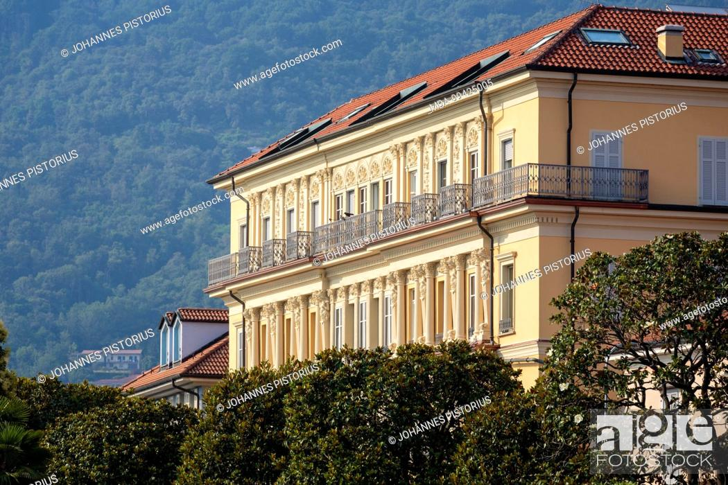 Stock Photo: Europe, Italy, Piedmont, Verbania. The building frontage of the Europalace Hotel on the promenade of Pallanza.