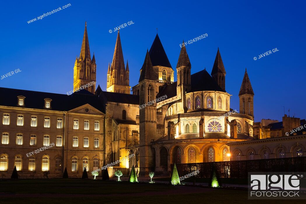 Stock Photo: L'Abbaye-aux-Hommes, Church of Saint Etienne, Caen, Normandy, France.