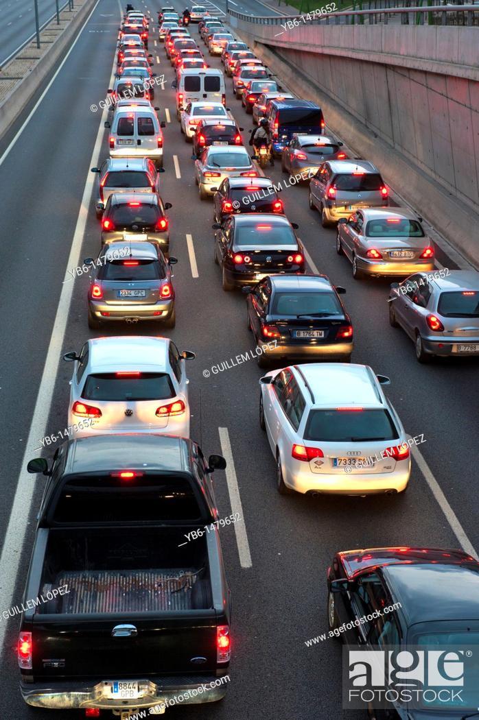 Stock Photo: Traffic jam at the motorway entering Barcelona, Spain.