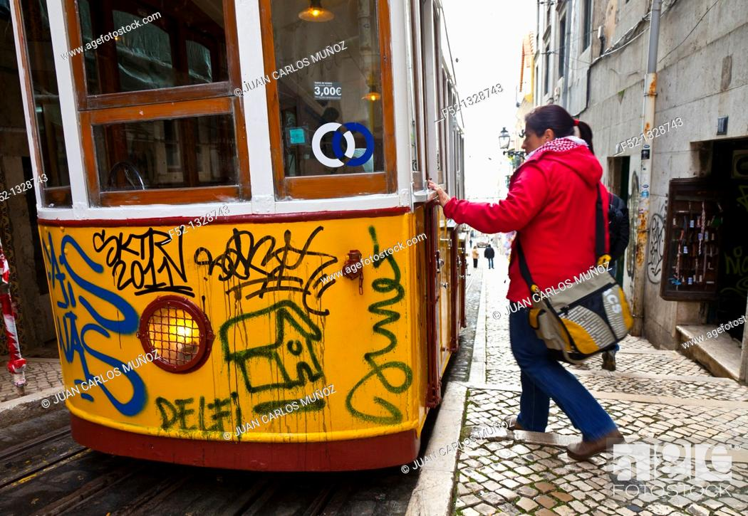 Stock Photo: Bica funicular, Chiado district, Lisbon, Portugal.