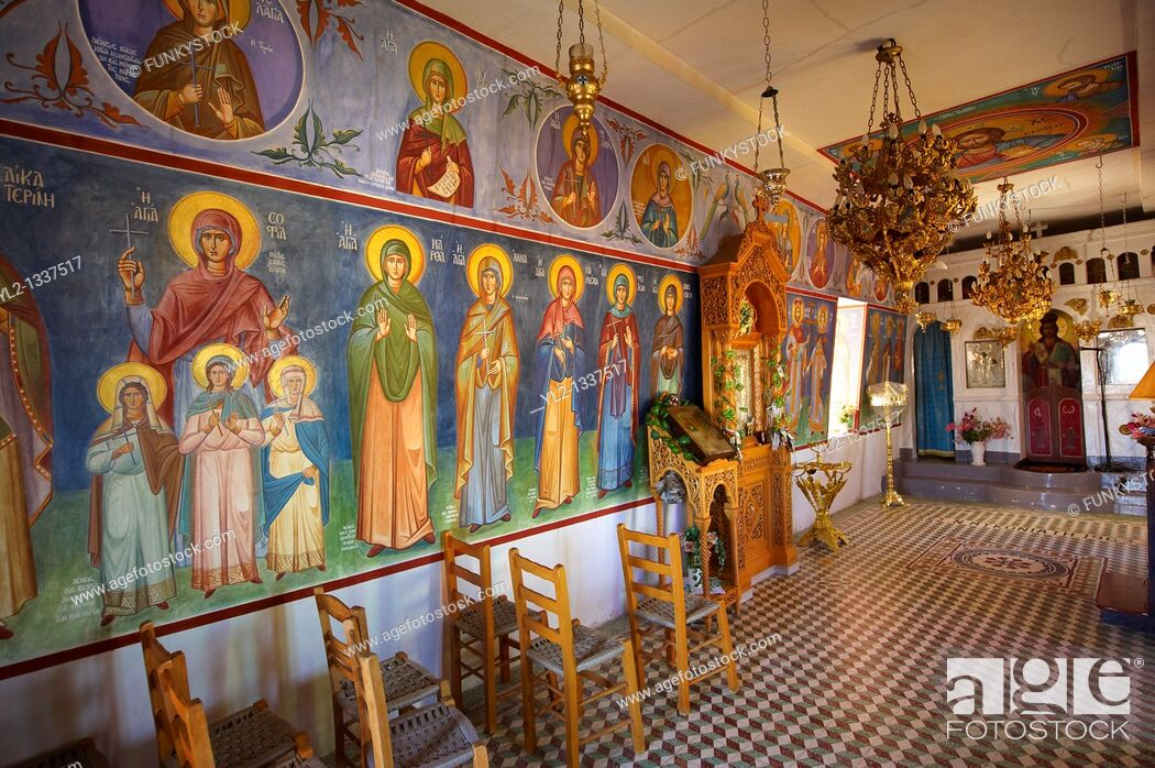 Stock Photo: Interior with frescos of the Agios Symios, kea, Greek Cyclades Island.