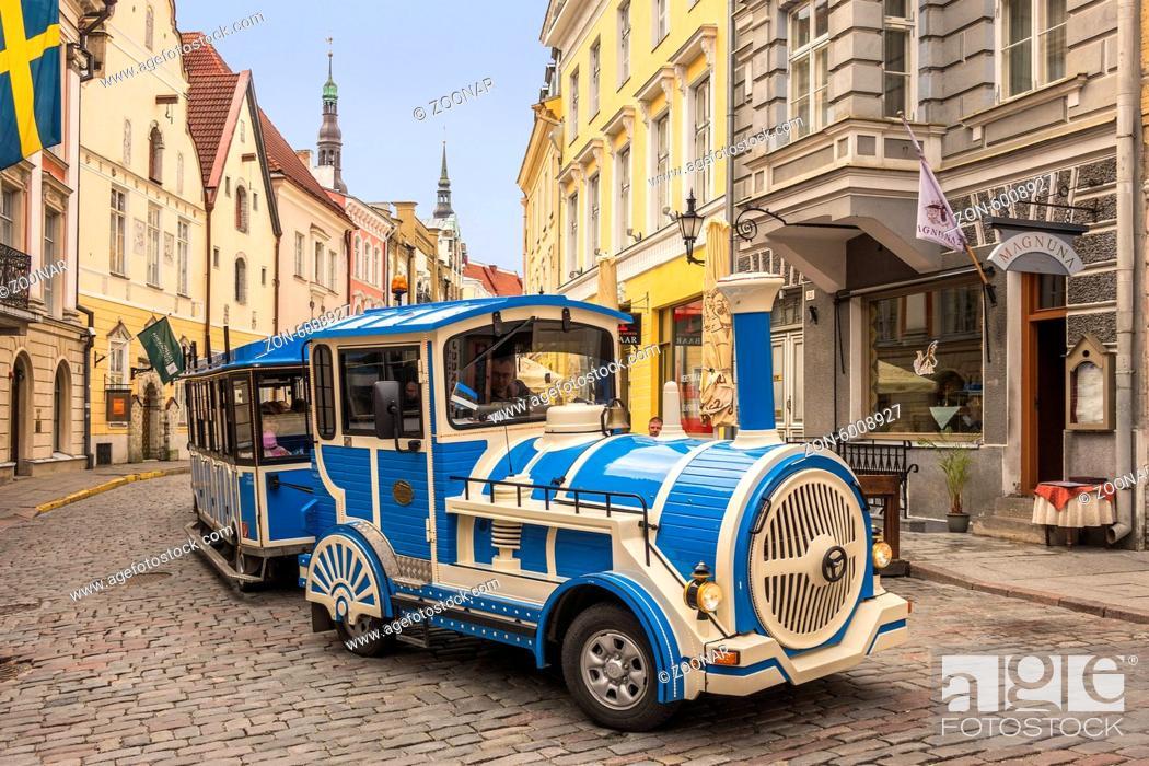 Stock Photo: Little Blue Train Tallin Estonia.