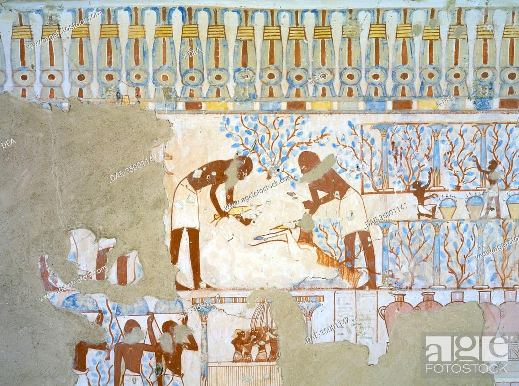 Stock Photo: Egypt, Thebes (UNESCO World Heritage List, 1979) - Luxor. Sheikh 'Abd al-Qurna. Tomb of city police captain Nebamun. Mural paintings (Dynasty 18, Thutmose IV.