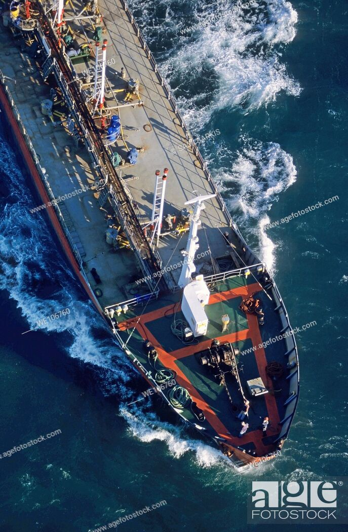 Stock Photo: Oil tanker on the Mediterranean Sea heading towards Fos Sur Mer Port, France.