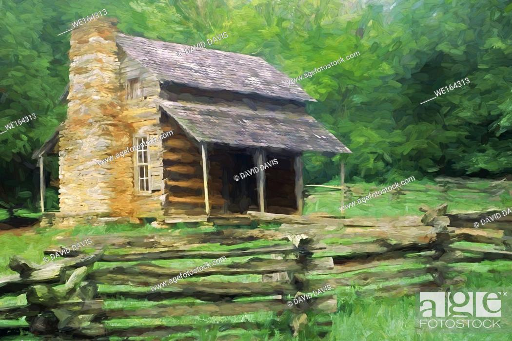 Stock Photo: Impressionistic Art of the John Oliver Place in Cades Cove, Great Smoky Mountains National Park, Tennessee, United States.
