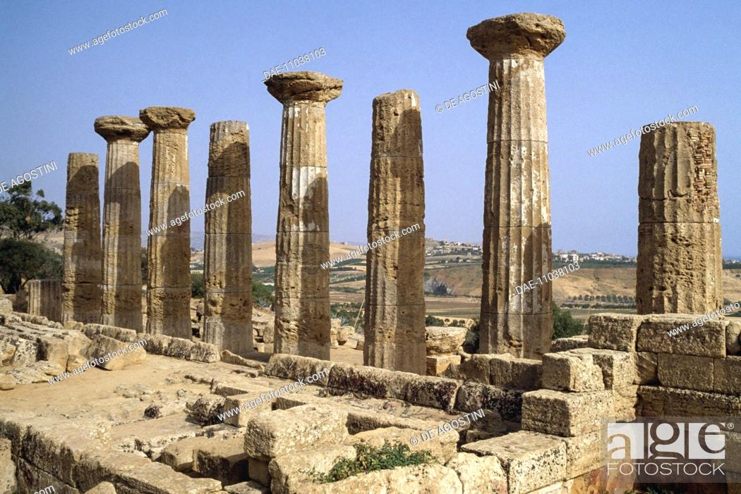 Stock Photo: Doric columns from the Temple of Hercules, Valley of the Temples of Agrigento (UNESCO World Heritage Site, 1997), Sicily, Italy.
