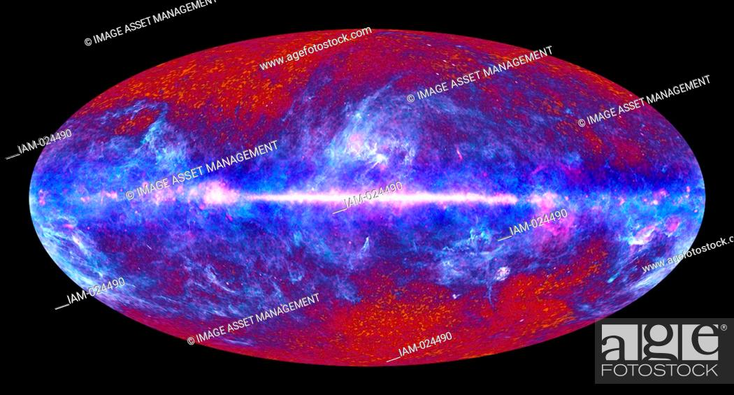 Stock Photo: image of the microwave sky synthesized using data spanning the range of light frequencies detected by Planck. These low frequencies.