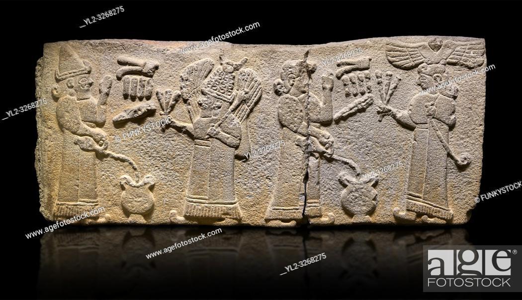Stock Photo: Aslantepe Monumental Hittite relief sculpted orthostat stone panel. Limestone, Aslantepe, Malatya, 1200-700 B. C. . . . Scene of the king's offering drink and.