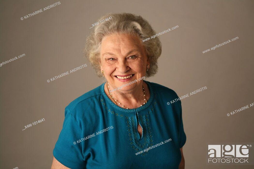 Stock Photo: A senior citizen woman poses for a portrait.