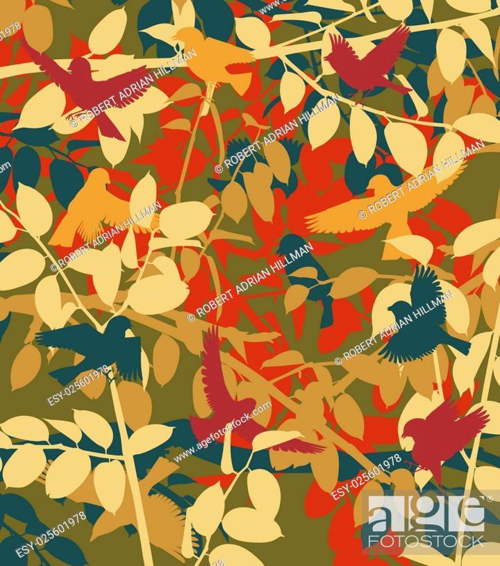 Stock Vector: Editable vector illustration of small birds in vegetation.