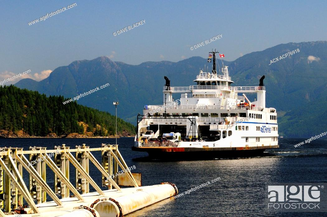 Stock Photo: The BC Ferry, Island Sky, arriving at Earls Cove (near Sechelt) from Saltery Bay, near Powell River, BC.