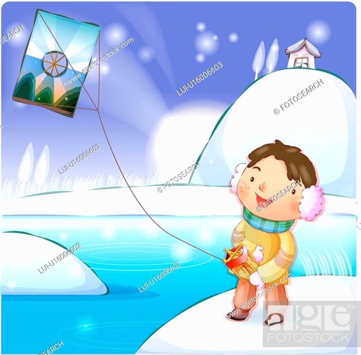 Stock Photo: folk game, chirstmas, kite, smiling, outter, snow.