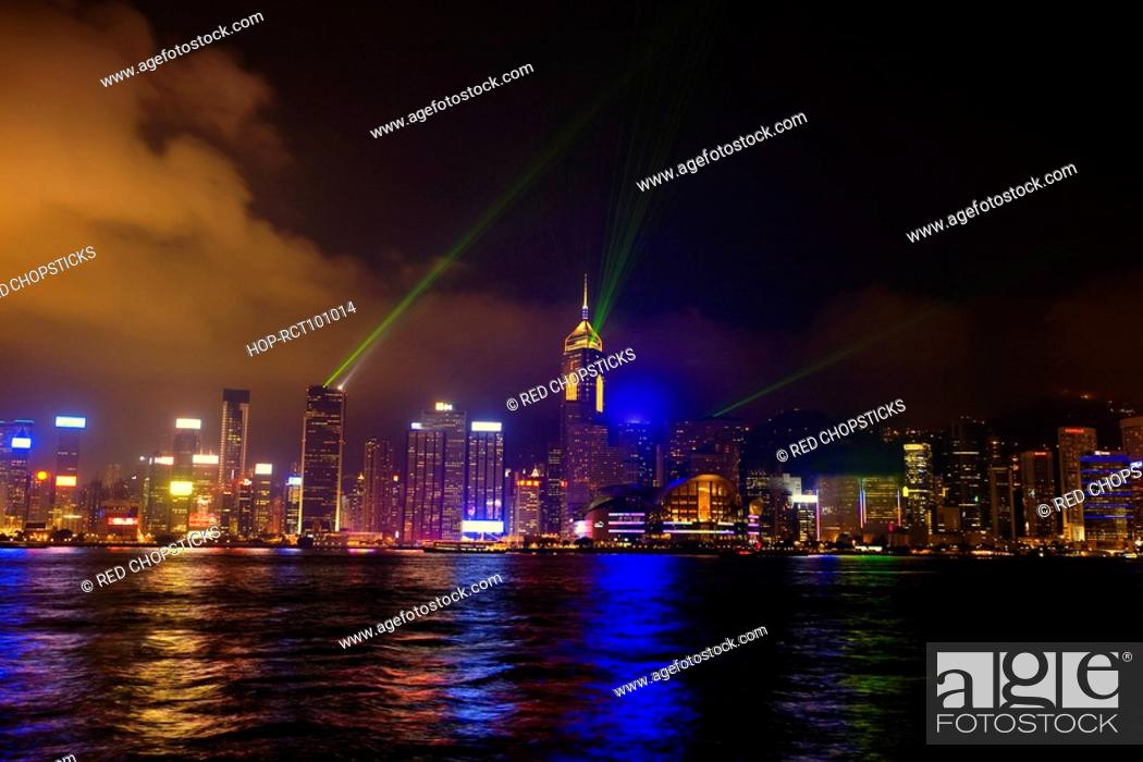 Stock Photo: Skyscrapers at the waterfront, Victoria Harbor, Hong Kong Island, Hong Kong, China.