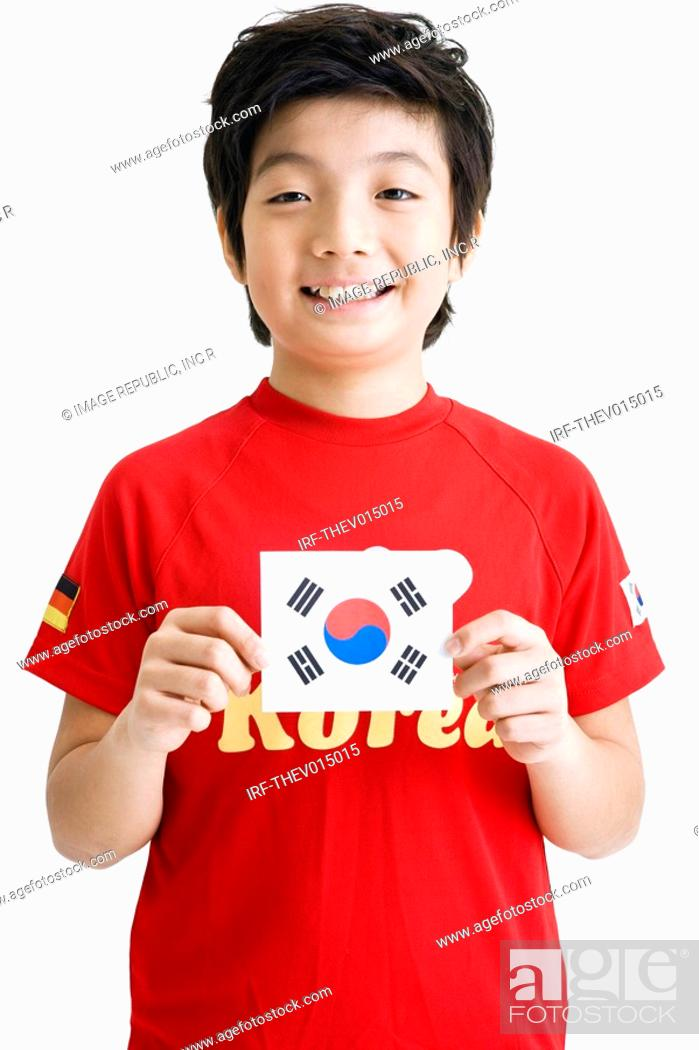 Stock Photo: boy holing Korean flag, Taegeukgi.