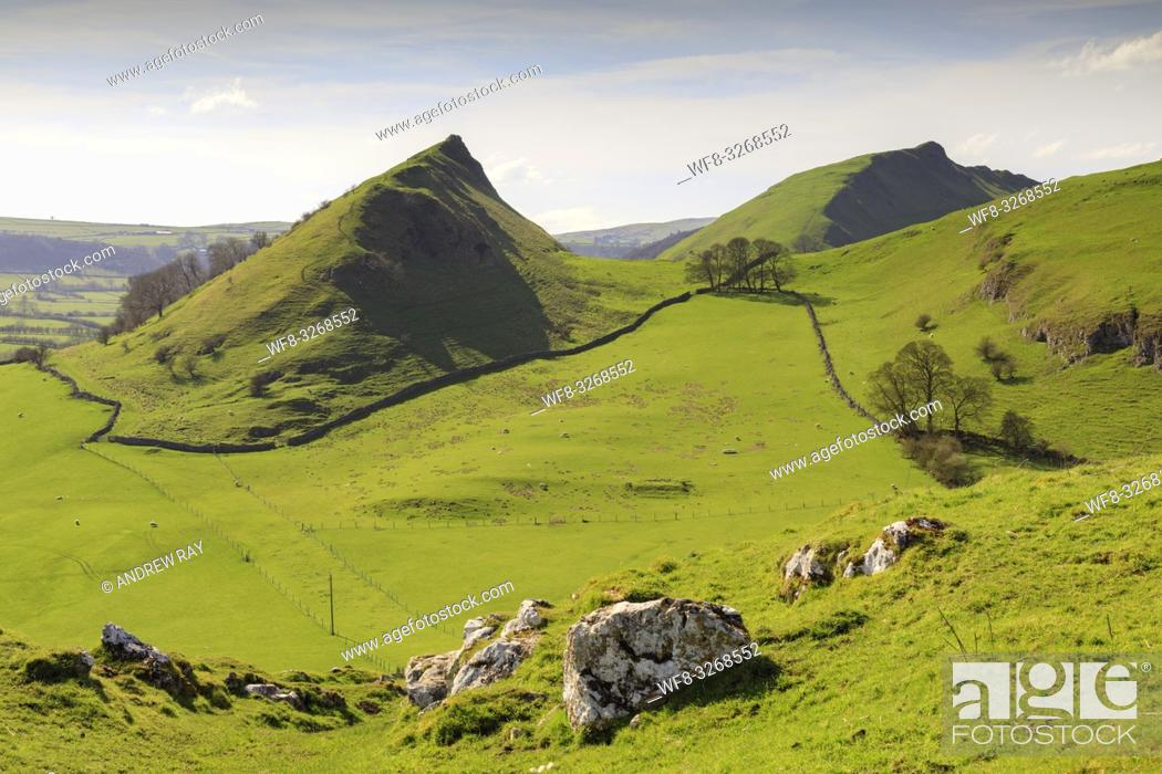 Stock Photo: Chrome and Parkhouse Hills in the Peak District National Park captured from Hitter Hill on a morning in late April.