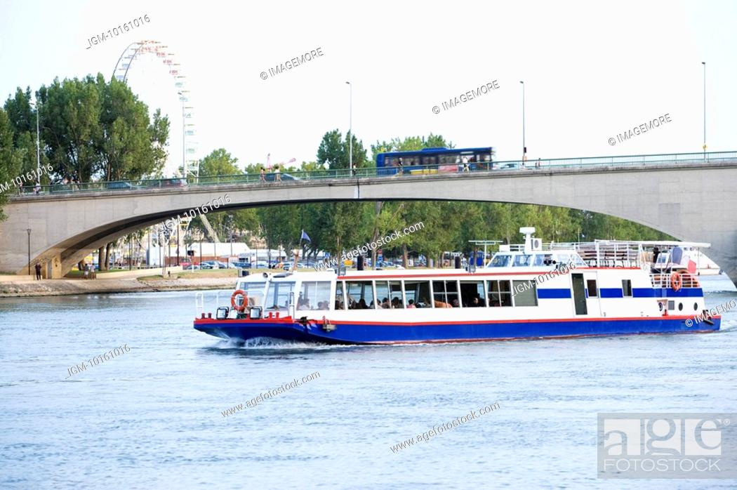 Stock Photo: Rhone River, Cruise Ship in Avignon, Provence-Alpes-Cote d'Azur, France.
