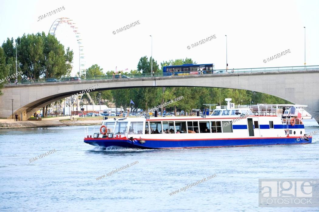 Stock Photo: Rhone River, Cruise Ship in Avignon, Provence-Alpes-Cote d'Azur, France.