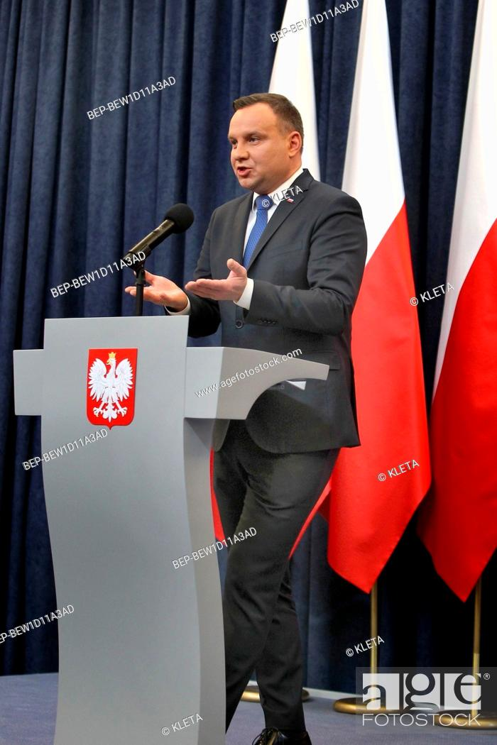 Stock Photo: February 6, 2018 Warsaw, Poland. Press Conference. Pictured: President of Poland Andrzej Duda.