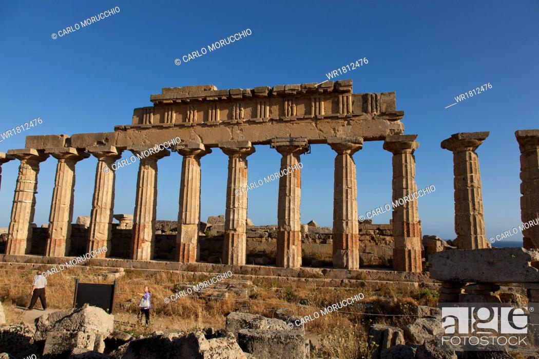 Stock Photo: Temple C columns at the Acropolis of Selinunte, the ancient Greek city on the southern coast of Sicily, Italy, Europe.