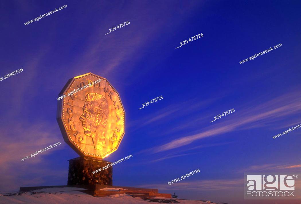 Stock Photo: Winter skies and evening light on the Big Nickel. Sudbury. Ontario. Canada.