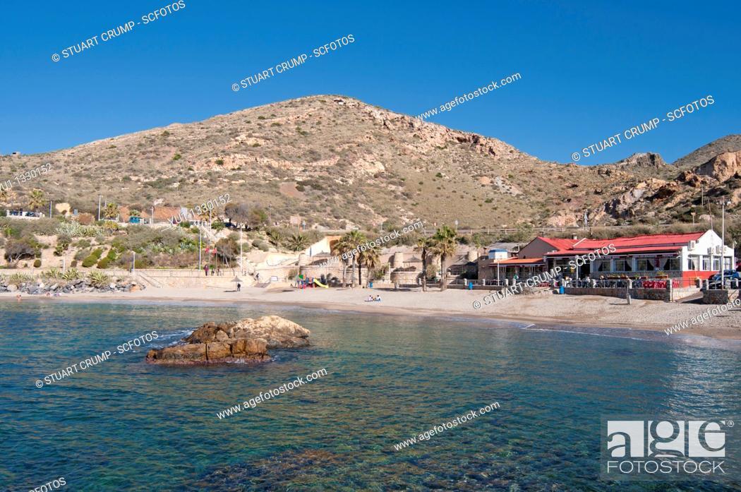 Stock Photo: Cala Cortina beach just outside the city of Cartagena in the region of Murcia, Costa Calida, Southeastern Spain.