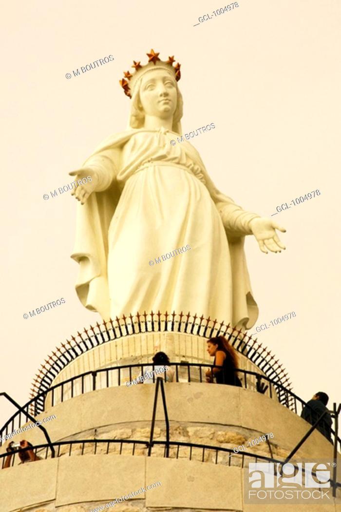 Stock Photo: Statue of Virgin Mary in Harissa, Lebanon.