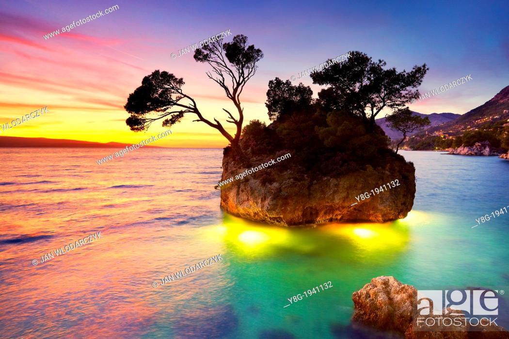 Stock Photo: Croatia - Makarska Riviera Coast, landscape at sunset time, Dalmatia, Croatia.