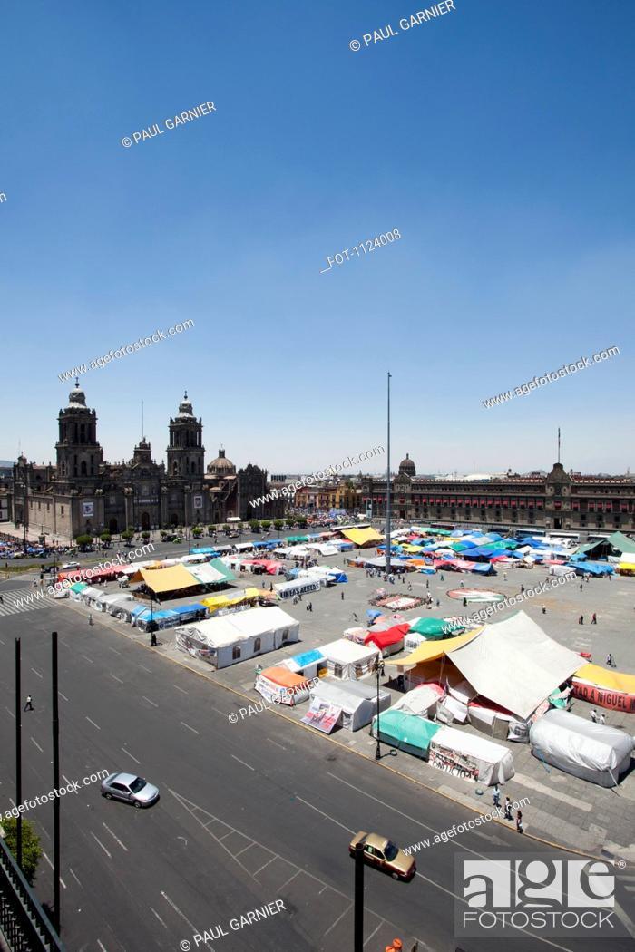 Stock Photo: A market at Zocalo, Mexico City, Mexico.