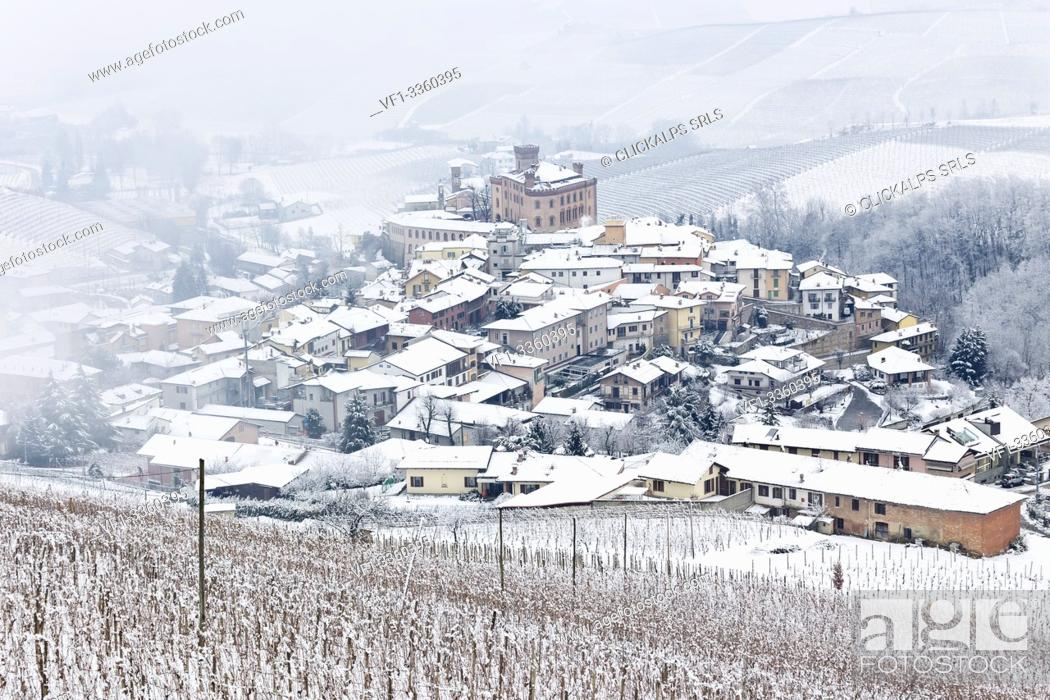 Stock Photo: Langhe, Cuneo district, Piedmont, Italy. Langhe wine region winter snow, Barolo castle.