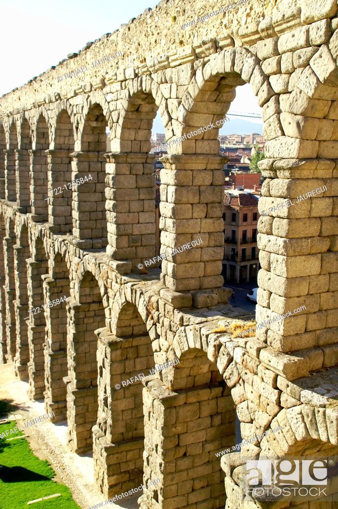 Stock Photo: Roman aqueduct of Segovia  Segovia Spain.