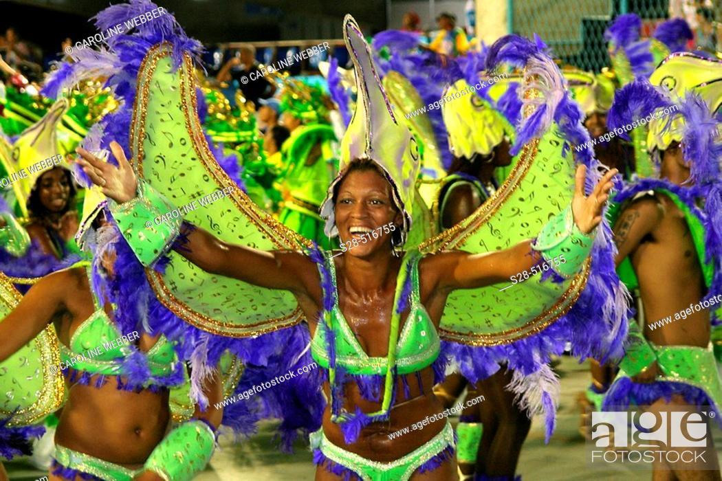 Stock Photo: Smiling woman at Carnival, Rio de Janeiro.