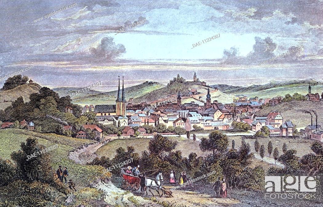 Stock Photo: View of Elberfeld, 1845, Germany 19th Century.