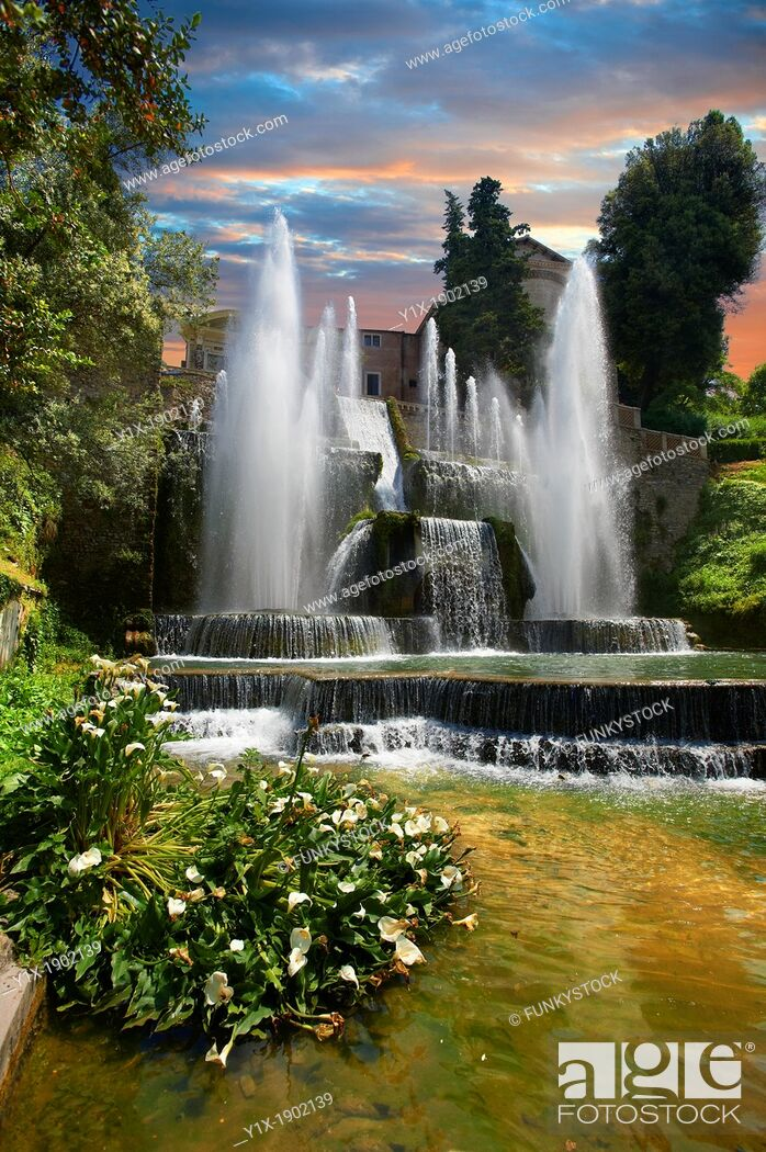 Stock Photo: The water jets of the Organ fountain, 1566, housing organ pipies driven by air from the fountains  Villa d'Este, Tivoli, Italy - Unesco World Heritage Site.