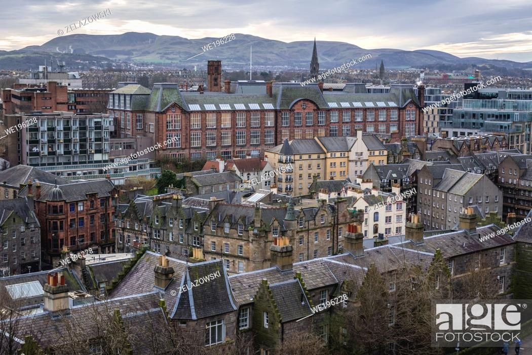 Stock Photo: Aerial view from esplanade of Castle in Edinburgh, capital of Scotland, part of OK, Lauriston Campus of University of Edinburgh in the middle.