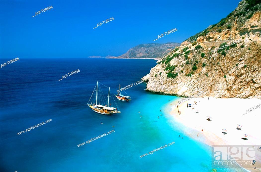 Stock Photo: Turkey - Mediterranean Coast - Antalya Region - Kas - Kaputas Beach.