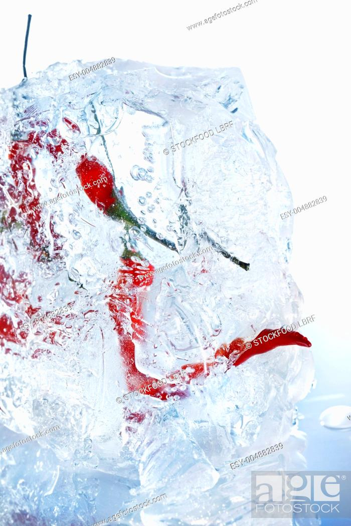 Stock Photo: Chilli peppers in a block of ice close-up.