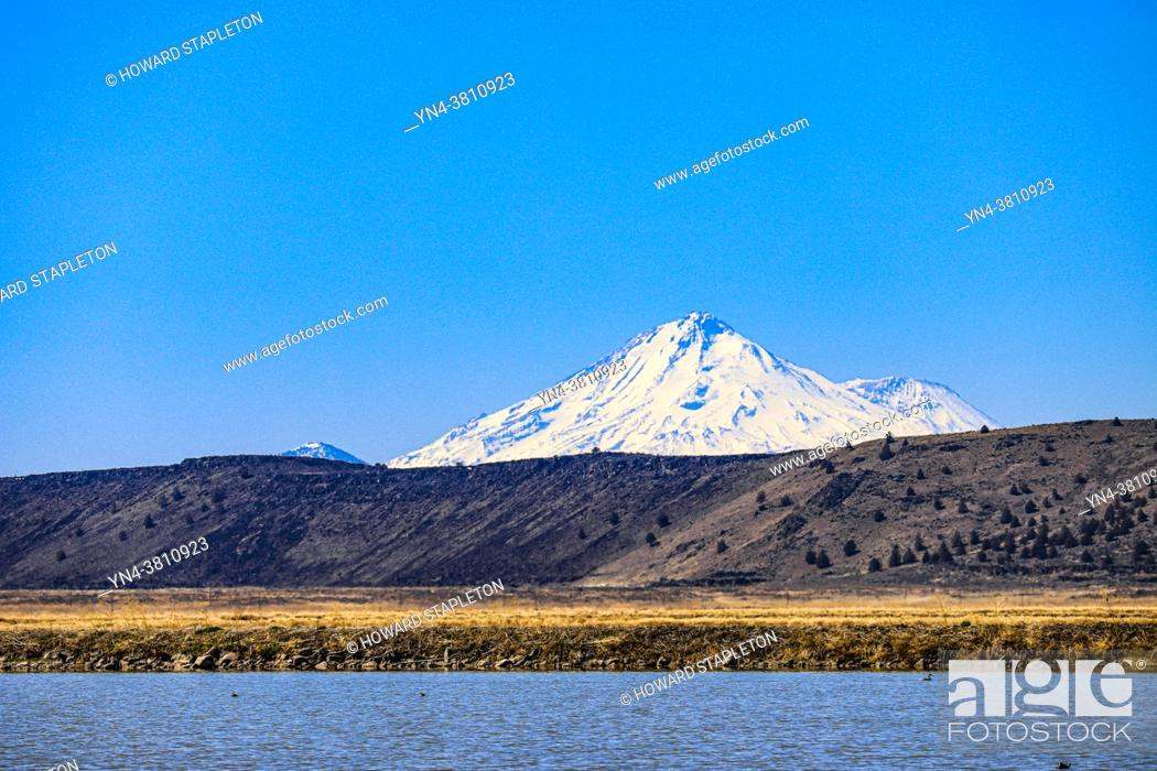 Stock Photo: Tule Lake and Mount Shasta in Northern California.