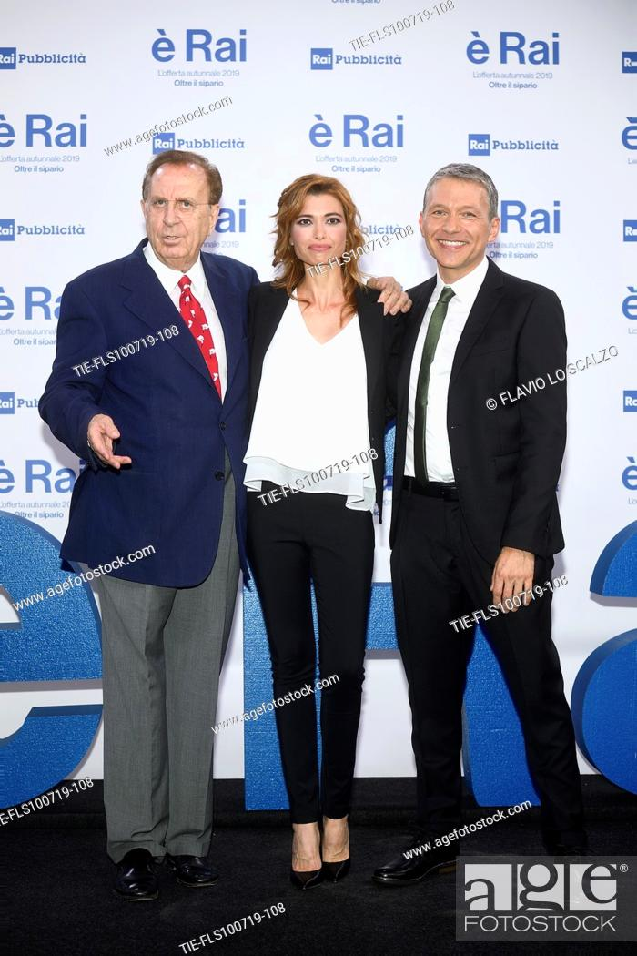 Stock Photo: Michele Mirabella, Carlotta Mantovan, Pier Luigi Spada during the Rai programming launch in Milan, ITALY-09-07-2019.