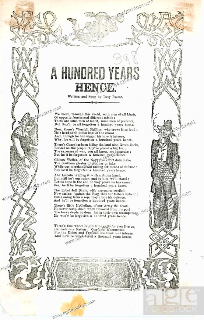 """Imagen: Broadside from the American Civil War entitled """"""""A Hundred Year Hence"""""""", listing many contemporary key figures who will soon be forgotten."""