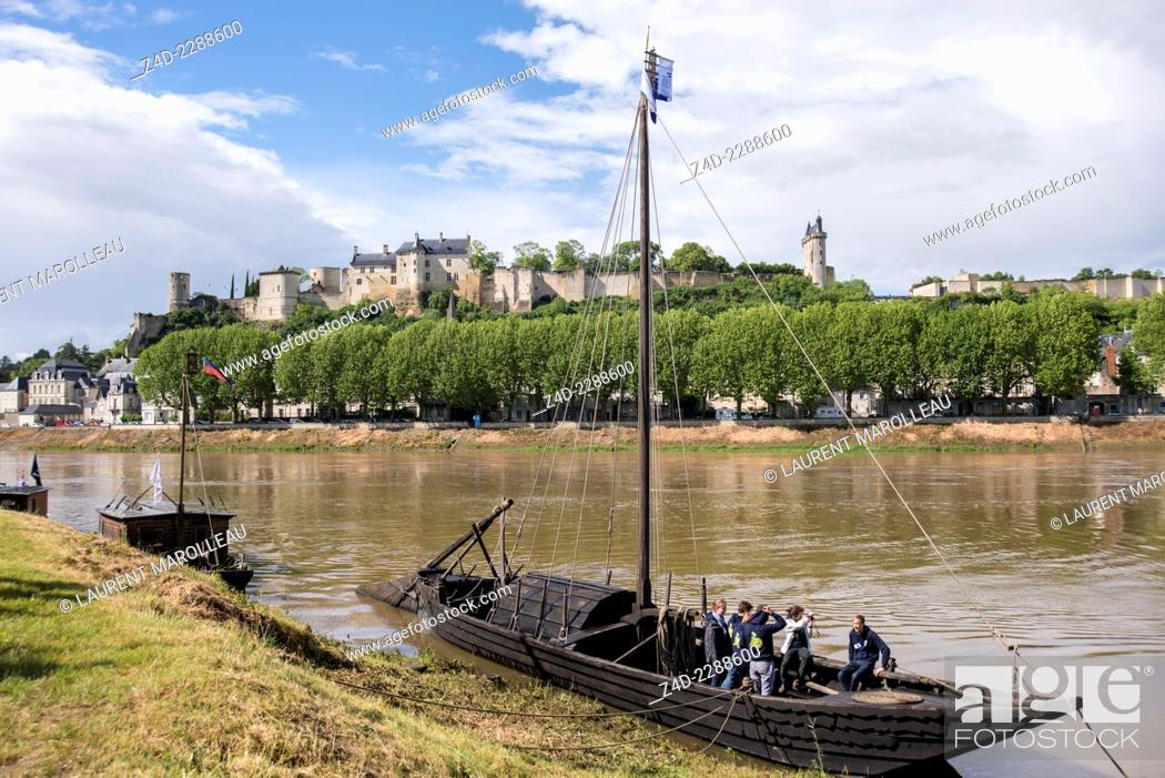 Stock Photo: Chinon Boats festival (La fête de la Batellerie) with traditional flat-bottomed wooden boats called toues. Indre-et-Loire department, Centre region.