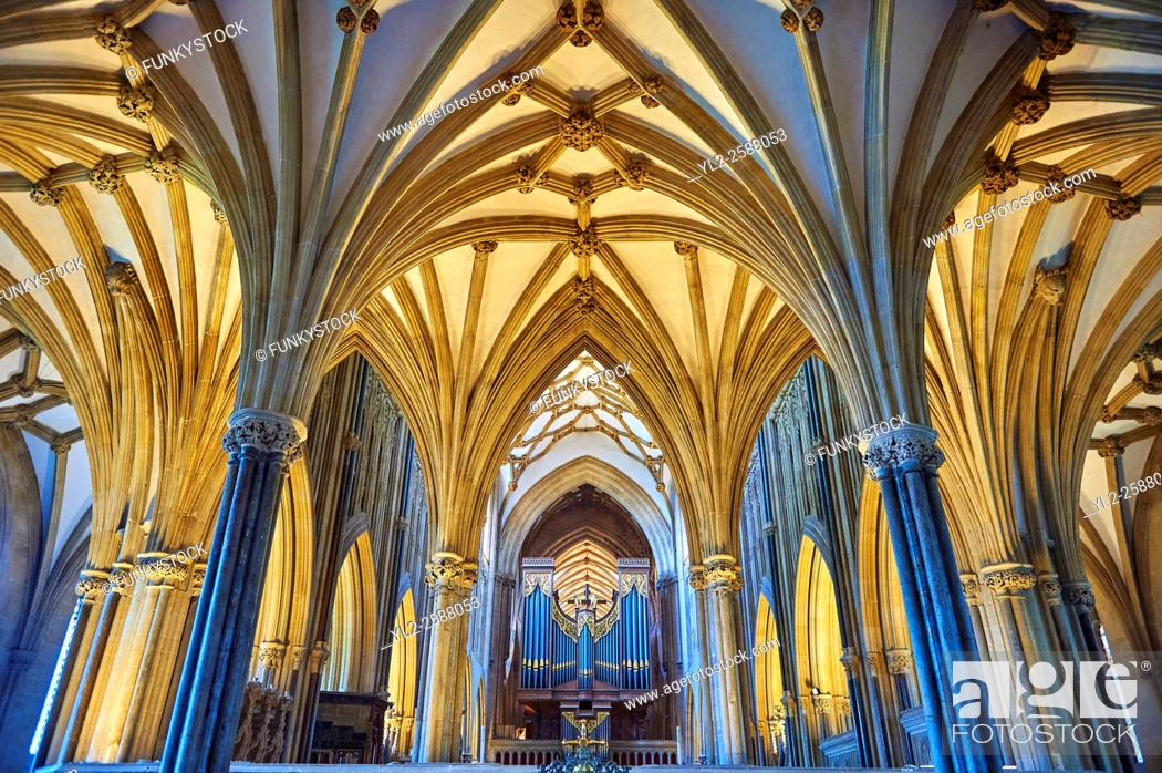 The interior and organ of the medieval Wells Cathedral built