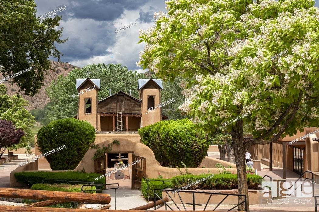 Stock Photo: Chimayo, New Mexico - The Christ of Esquipulas Chapel at El Santuario de Chimayo, a Roman Catholic pilgrimage shrine in the mountains of northern New Mexico.
