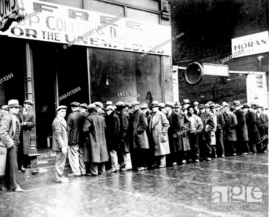 Unemployed Men Queuing Outside A Soup Kitchen In New York C1930 During The Great Depression Stock Photo Picture And Rights Managed Image Pic Iam 015269 Agefotostock