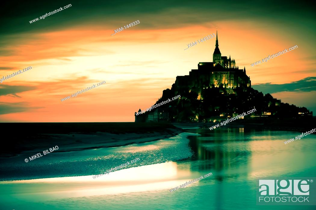 Stock Photo: St Michael's Mount and its Bay at sunset, Manche Department, Basse-Normandie region, Normandy, France, Europe.