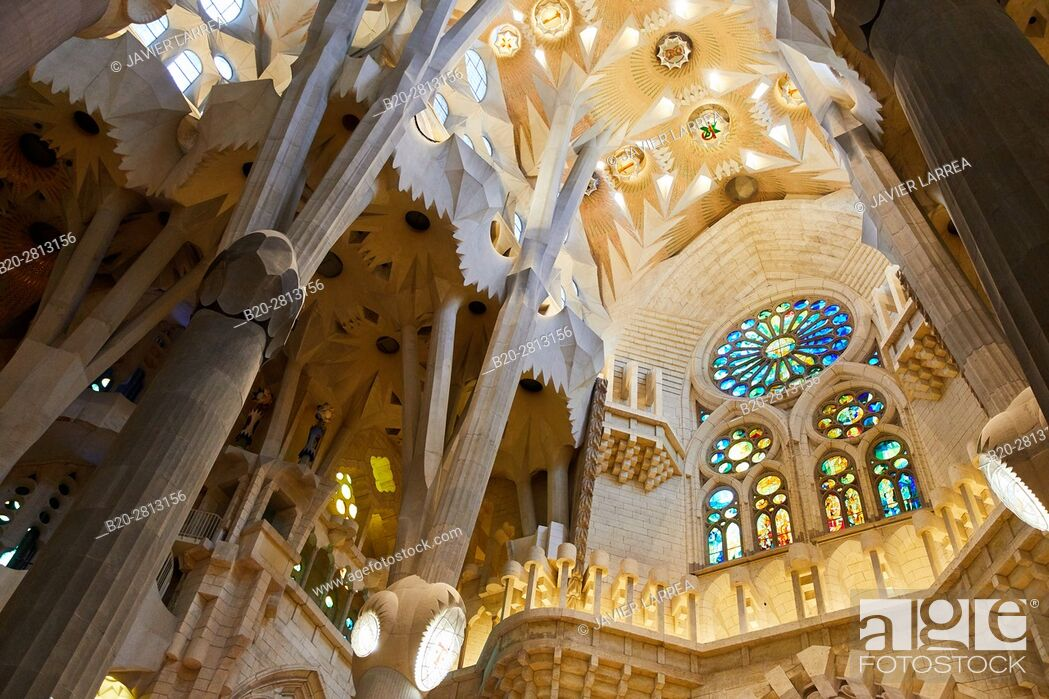 Stock Photo: La Sagrada Familia Church, by the architect Antoni Gaudi, Eixample district, Barcelona, Catalonia, Spain.