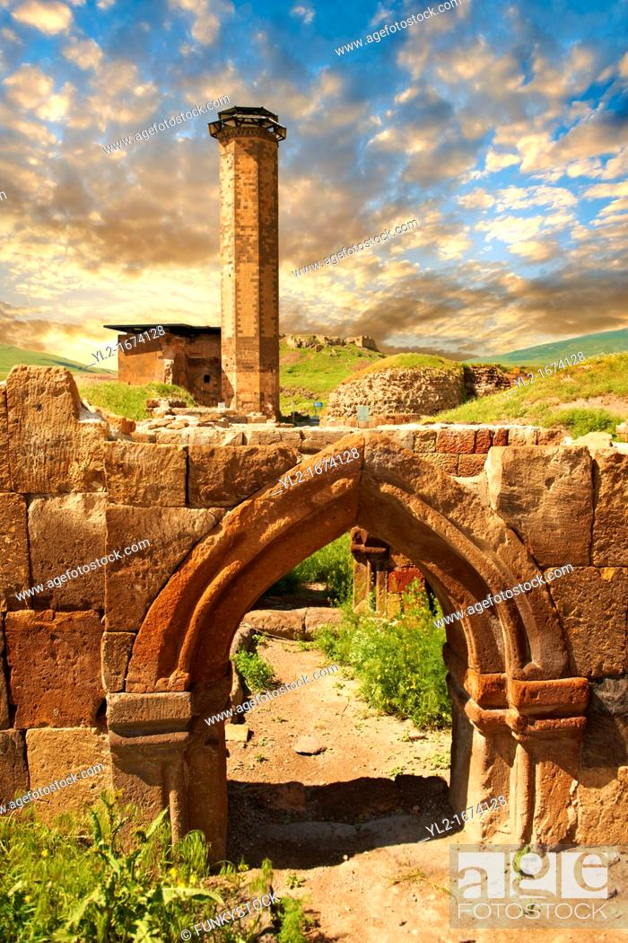 Stock Photo: Medieval Gothic Door Arch infront of The Seljuk Turk Mosque of Ebul Minuchihr Minuchir built in 1072, Ani archaelogical site on the ancient Silk Road , Kars.