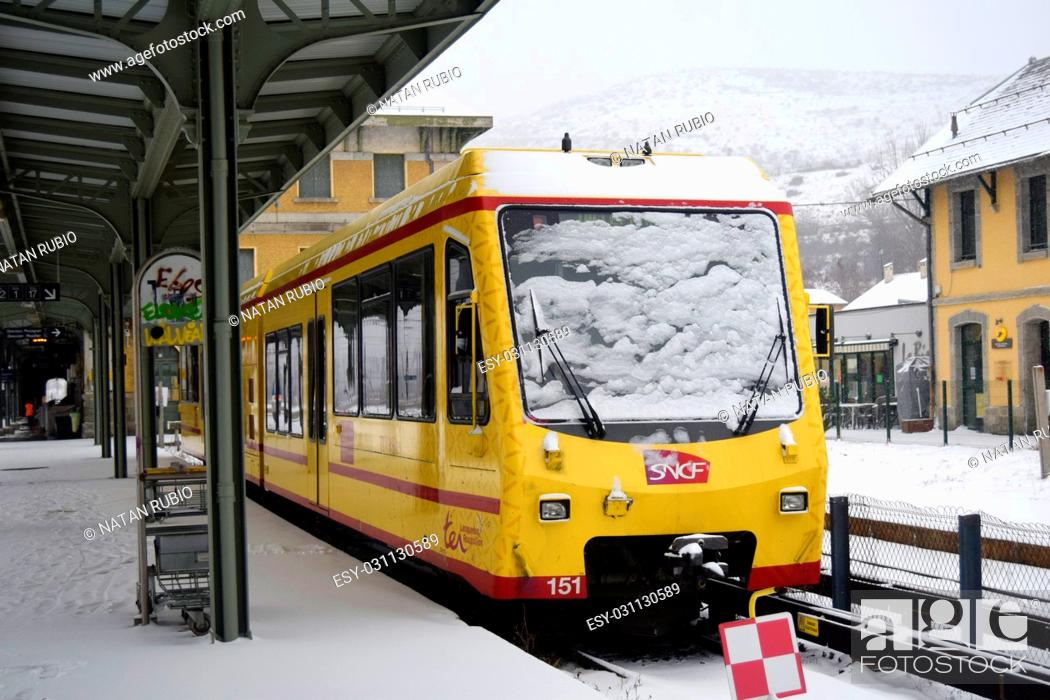 Stock Photo: Train and snow.