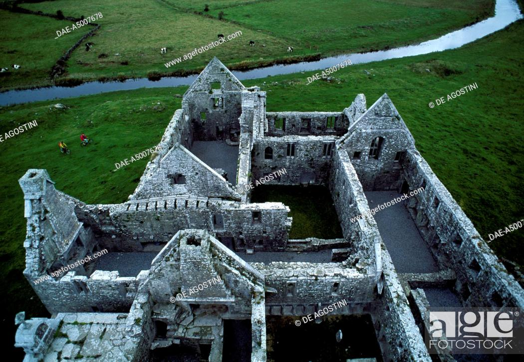 Stock Photo: The ruins of Ross Abbey, Franciscan friary, 1351, near Headford, County Galway, Ireland.